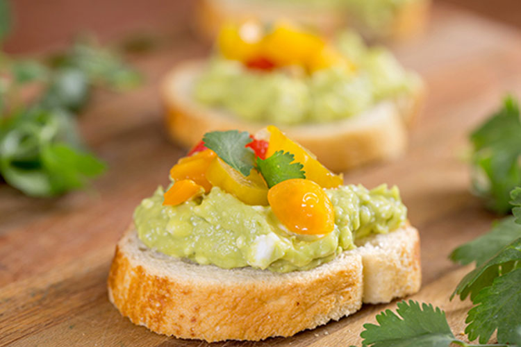 Guacamole Goat Cheese Bruschetta